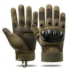Перчатки тактические со вставкой, армейский зеленый L